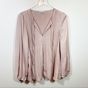 Lucky Brand pleated peasant top blush